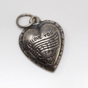 925 ANTIQUE WWII Love Music Note Puffy Heart Charm